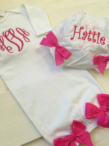 Baby Layette Gown and Bloomer Set