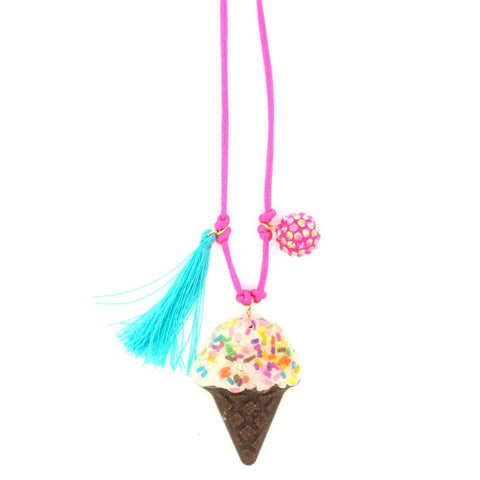 Ice cream Resin Necklace + Bookmark by Sadie's Moon