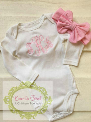 Monogrammed Onesie and Headband