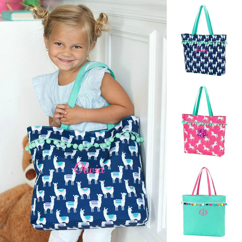 Girls Pom Pom Tote Unicorn, Llama & Mint