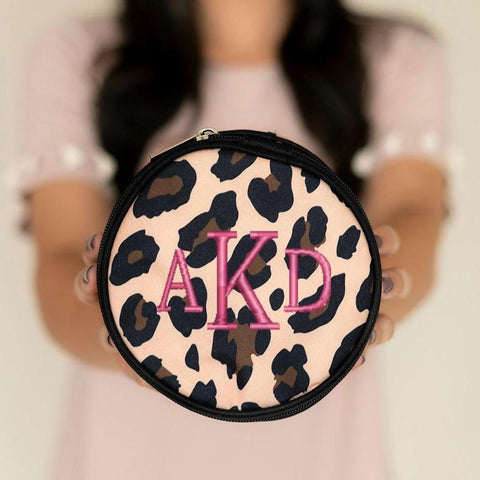 Personalized Leopard Jewelry Case Free Monogramming