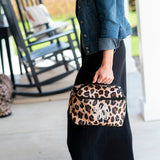 Personalized Leopard Cosmetic Bag Free Monogramming
