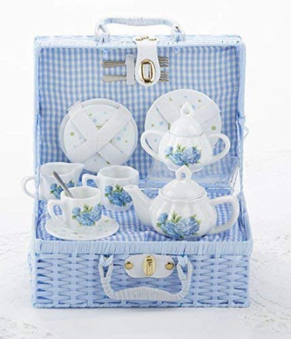 Tea Set Porcelain Hydrangea Blue
