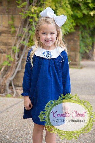 Girls Long Sleeve Navy Bishop Dress