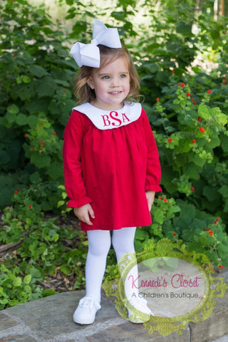 Girls Long Sleeve Red Bishop Dress