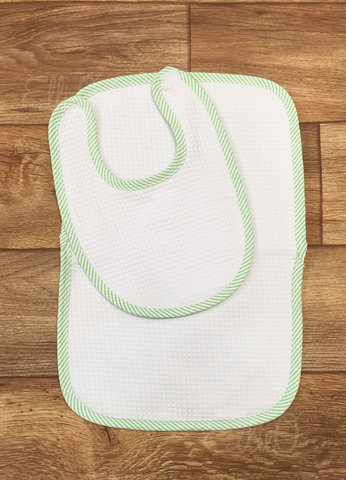 Seersucker Burp Cloth and Bib Set Green