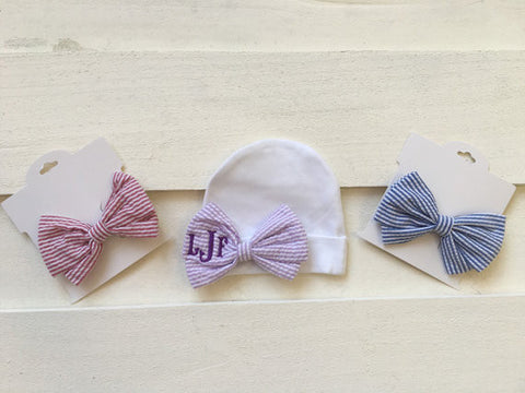 Infant Hat with Seersucker Bow
