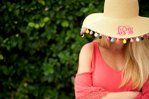 Ladies Pom Pom Floppy Hat