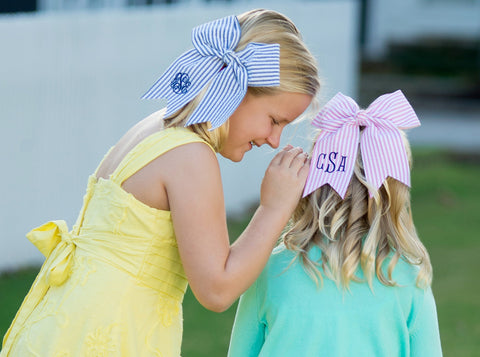 Bow Monogrammed Cheer Style
