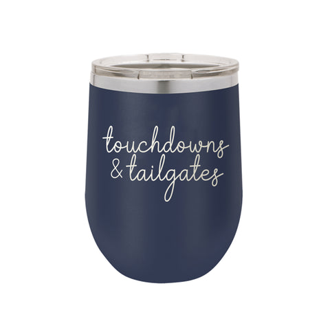 Touchdowns and Tailgates Tumblers Navy