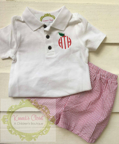 Apple Monogram Polo Short Set
