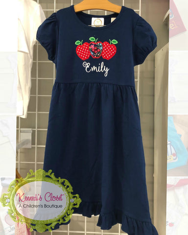 Apple Trio Dress in Navy