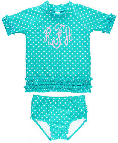 RB Aqua Polka Dots Rash Guard SS