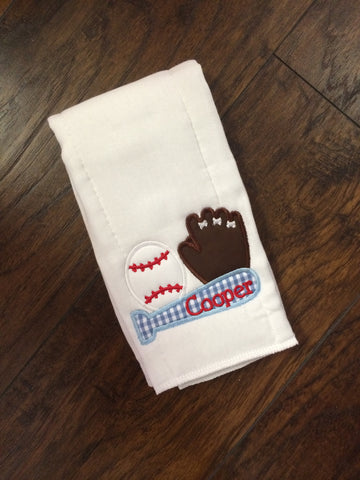 Burp Cloth Applique Baseball Sports