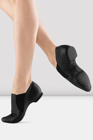 Black Leather Elasta Jazz Booties by BLOCH