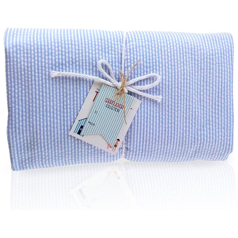 Seersucker Blue Towel Blanket- Palm Beach Crew
