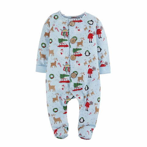 Christmas Pajamas Santa Reindeer- Blue Sleeper