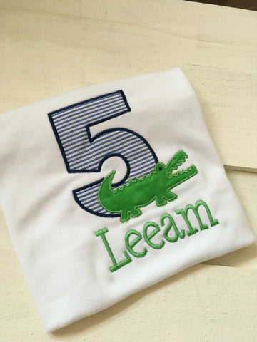 Navy and Green Gator Birthday Shirt