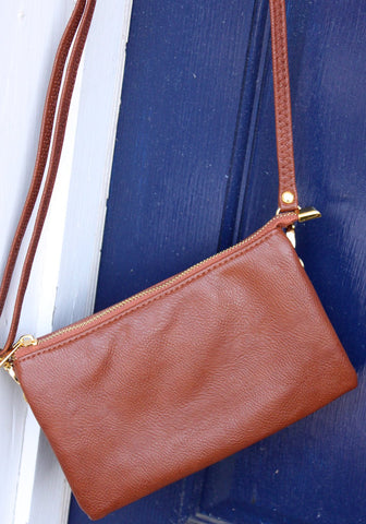 Monogrammed Clutch brown