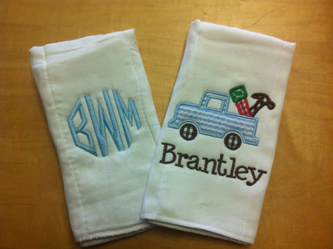 Burp Cloth Applique Set of 2