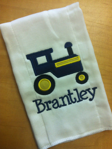 Burp Cloth Applique tractor