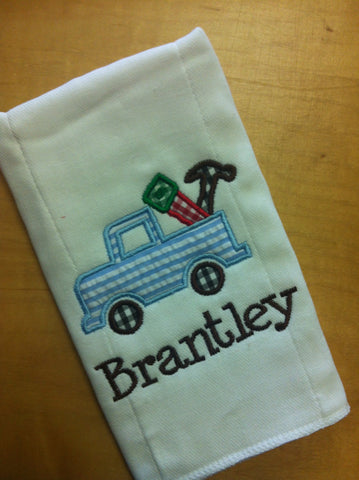 Burp Cloth Applique truck