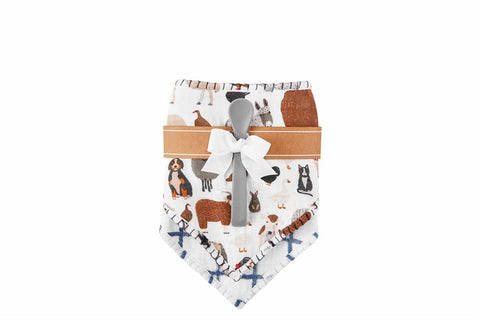 Farm Animal Muslin Bib and Spoon Set