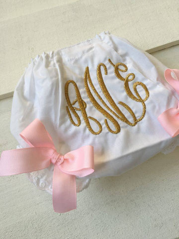 Bloomers Metallic and Pink Monogram