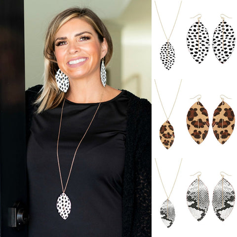Animal Print Feather Necklace and Earrings