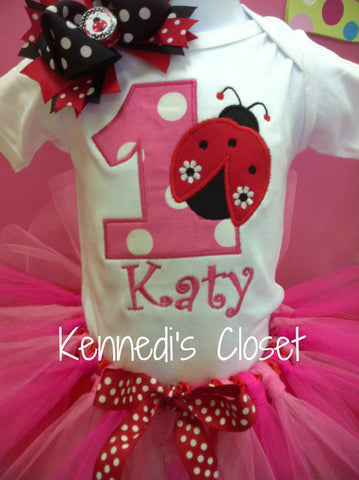 Ladybug Hot Pink and Red Birthday TuTu Set