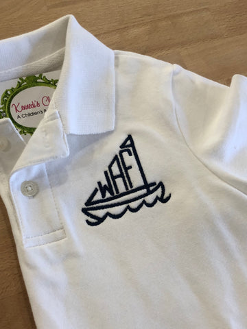 Sailboat Monogram Polo