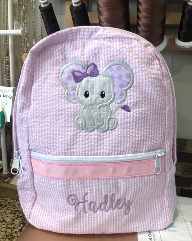 Elephant Seersucker Backpack