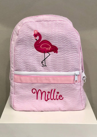 Flamingo Seersucker Backpack