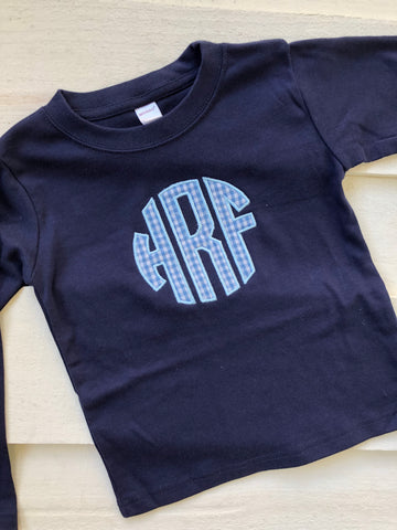 Boys Navy and blue gingham monogram