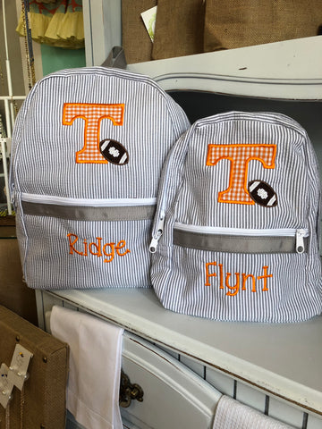 Tennessee T Football Seersucker Backpack