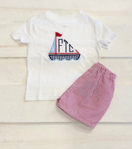 Sailboat Monogram Short Set