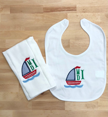 Sailboat Monogrammed Bib and Burp Cloth Set