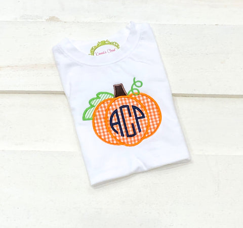 Gingham Pumpkin Monogram
