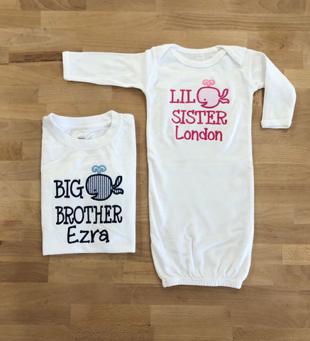 Big Brother/ Little Sister Whale Set