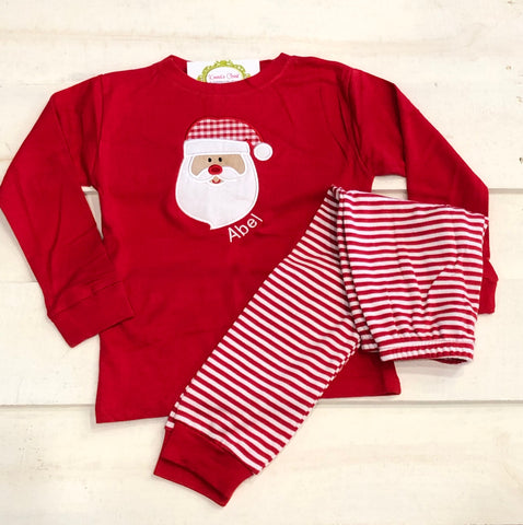 Santa Stripe Holiday Pajamas