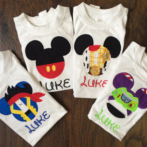 Mouse Applique Jake, Mickey, Buzz or Woody