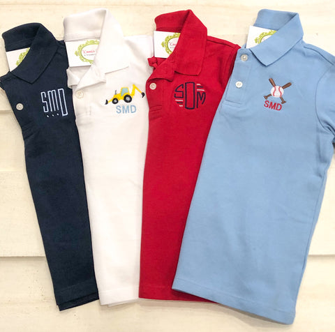 Boys Classic Monogram Polo