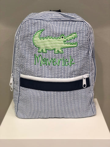 Alligator Seersucker Backpack