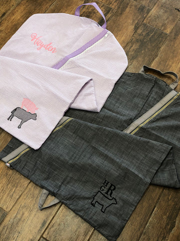 Seersucker Hanging Garment Bag with Applique