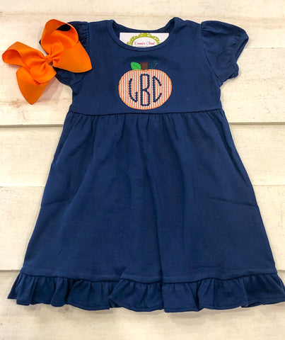 Pumpkin Seersucker Ruffle Dress