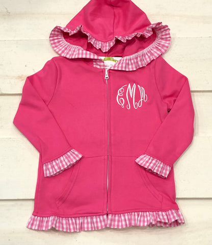 Girls Pink Gingham Ruffle Jacket