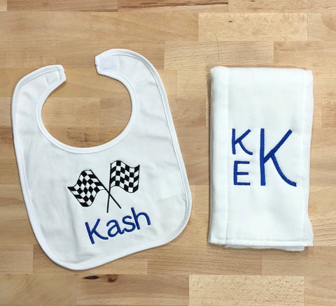 Race car Monogrammed Bib and Burp Cloth Set
