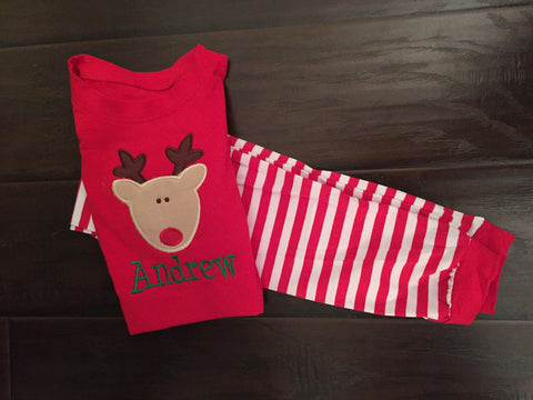 Reindeer Stripe Holiday Pajamas