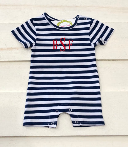 Navy Stripe Knit Shortall