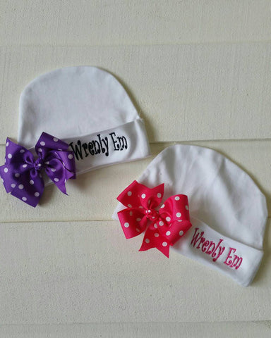 Monogram infant hat with Bow